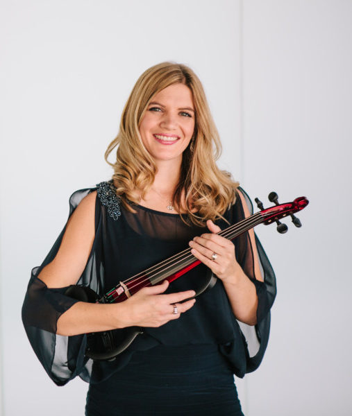 Ashley Rescot with red electric violin